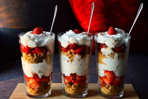 three-strawberry-parfait